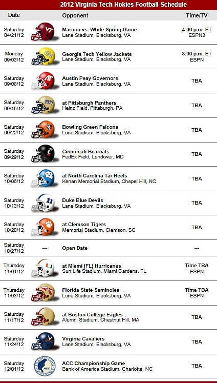 Va Tech Hokies 2012 Football Schedule VPI