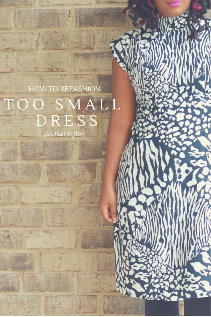 How to Fit Into a Too Small Dress, dress refashion, alter a dress, thrift store clothes, vintage dress refashion, how to upsize a dress, black and white print dress, tunic dress