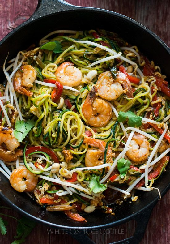 "Healthy Pad Thai ""Zoodles"" made with Low Carb Zucchini Noodles on @whiteonrice"