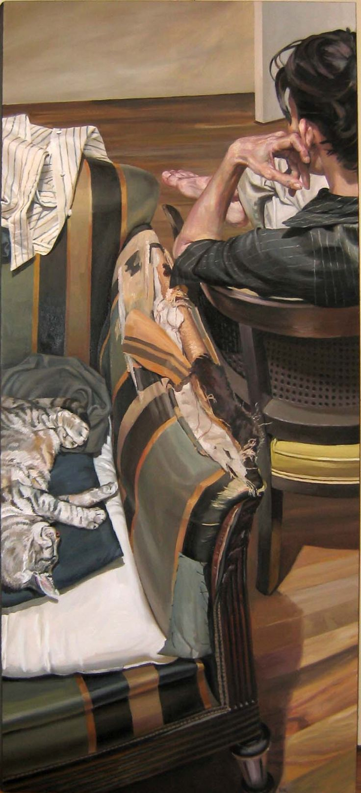 Cats in Art and Illustration: Two Ships, 66 x 30, oil on canvas, by Stephen Wright.