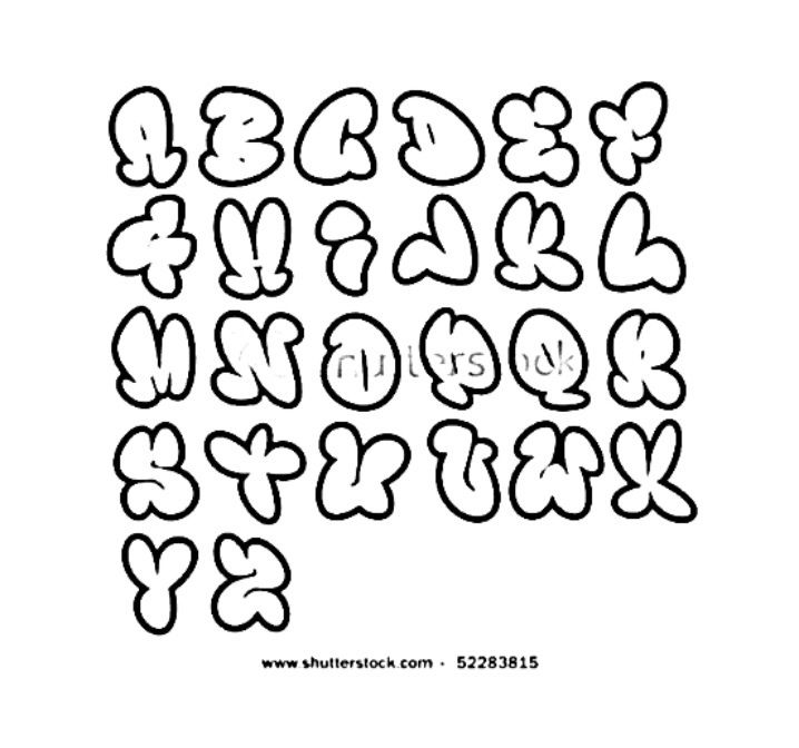 Graffiti Alphabet Bubble Letters Hip Hop Coloring Book Compiled By