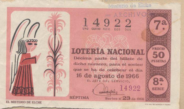 El #MisteridElx en los décimos de la lotería nacional del 16 agosto 1966