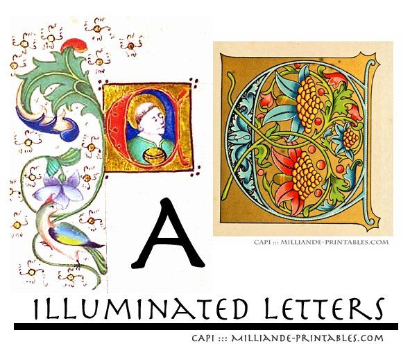 1000 images about lettrine calligraphie on pinterest for Illuminated alphabet templates