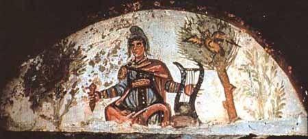***Arcosolio con la imagen de Orfeo. Catacumbas de los Santos Pedro y Marcelino. La segunda variante tipológica del Buen Pastor se basa como en el caso anterior (Variante del Buen Pastor que trae sobre sus hombros la oveja) en Orfeo amansando las fieras.
