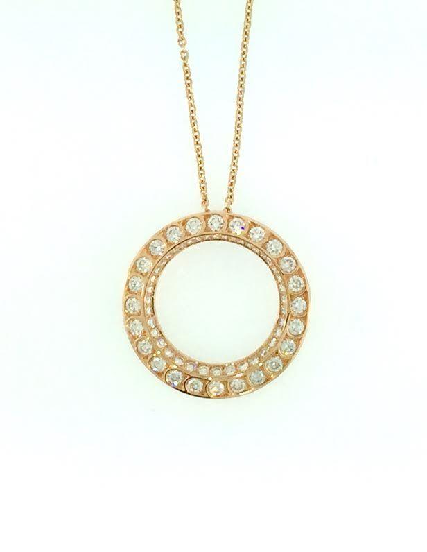 Harry Kotlar Round Diamond Solitaire Bloom Artisan Pave Necklace - 16 pjwuvwM