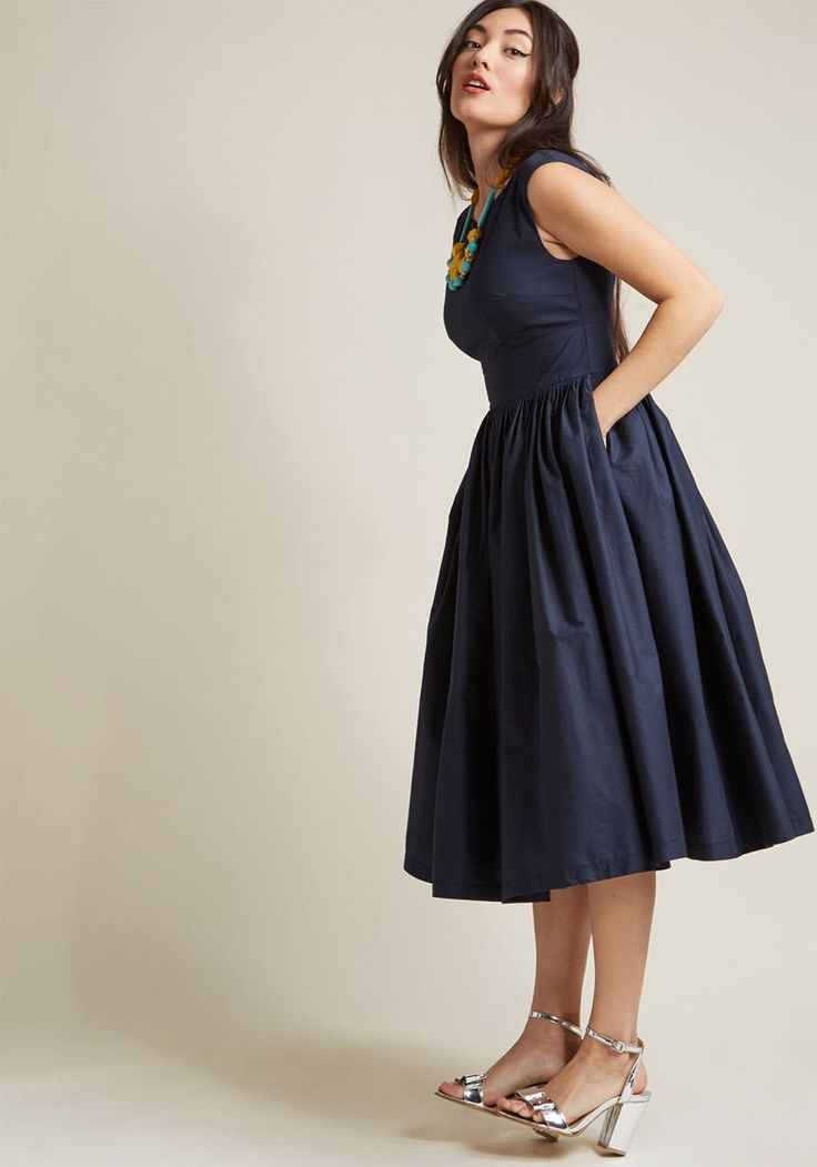 Fabulous Fit and Flare Dress with Pockets in Navy| ModCloth