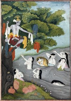 Krishna stealing gopis clothes, theme taken from Bhagavata Purana, pahari painting