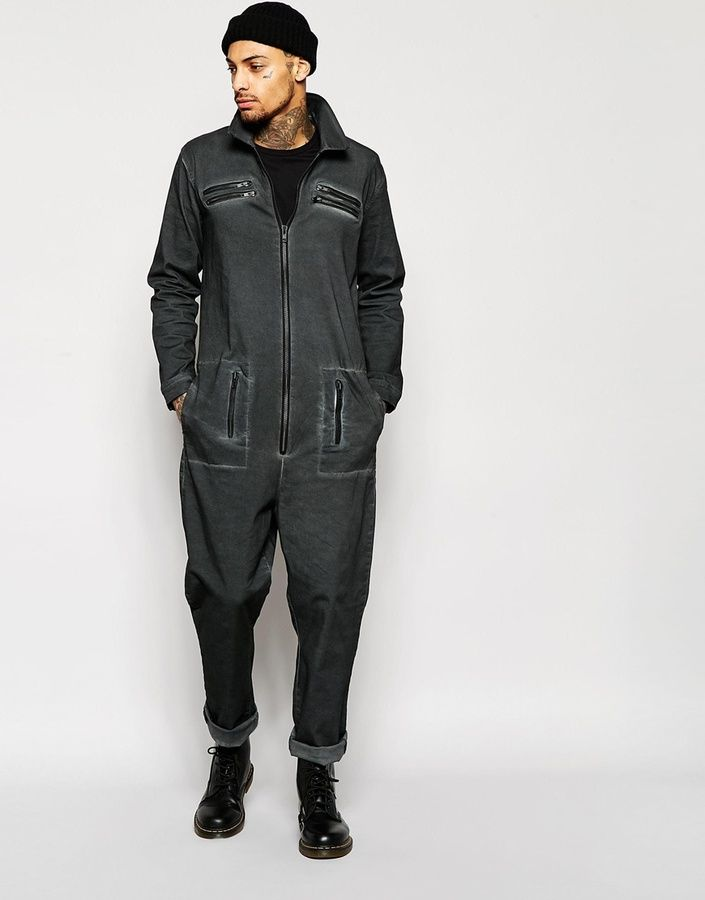 ASOS BRAND ASOS Slim Boiler Suit In Oil Wash With Biker Detail