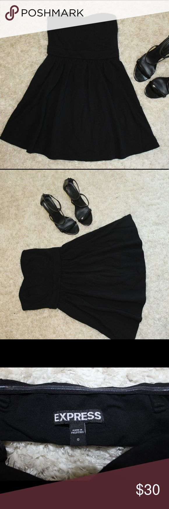 Express black strapless dress size 0 Express strapless black dress size 0. Only worn a few times and is gently used! Also selling the heels seen with it too, so bundling them is an option! Express Dresses Strapless
