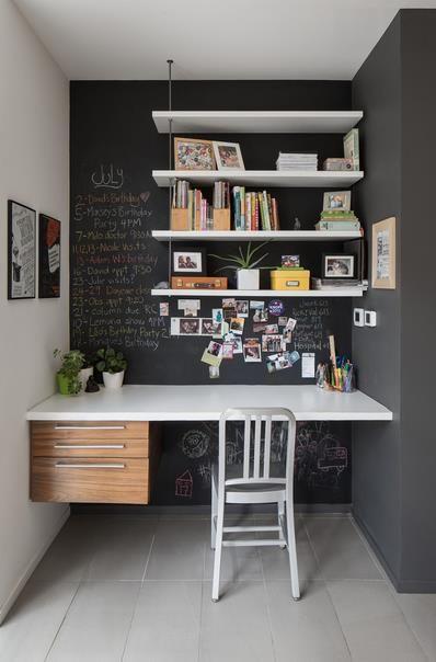 Грифельная краска на стене домашнего офиса