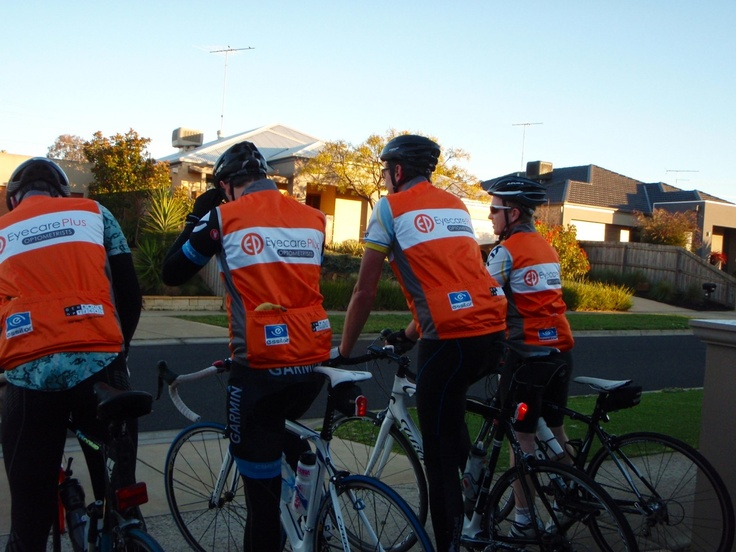 "The Eyecare Plus Geelong team training for ""Ride around the Bay"" Thanks also to Essilor and General Optical for their support.  From left to right: Garry Johnson, Wilko Kammerer, Nathan Hunt & James Spencer"