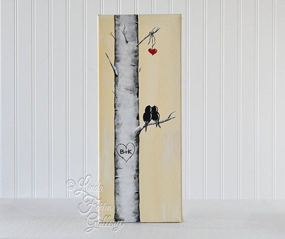 Original Canvas Painting / Love Birds on an Aspen Tree Branch / Birch Tree…