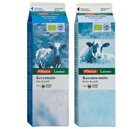 Pirkka Luomu kevytmaito ja Pirkka Luomu rasvaton maito on valmistettu Suomessa luomutiloilla kasvaneiden lehmien maidosta.