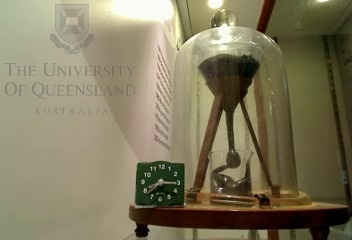 Pitch Drop Experiment - the worlds oldest experiment (started in 1927).  The experiment demonstrates the fluidity and high viscosity of pitch, a derivative of tar once used for waterproofing boats.