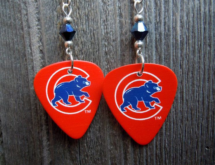 Red Chicago Cubs Mascot Guitar Picks with Metallic Blue Crystals by ItsYourPickToo on Etsy