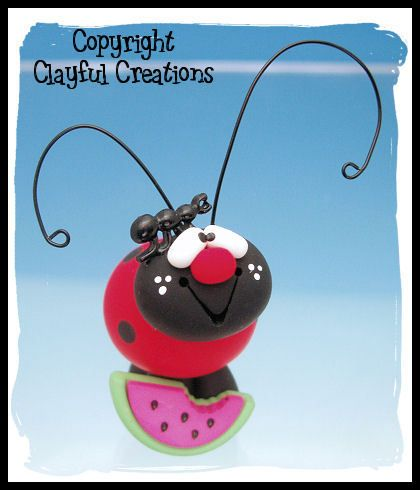 Polymer Clay Ladybug with Watermelon by Clayful Creations . . . $6.95