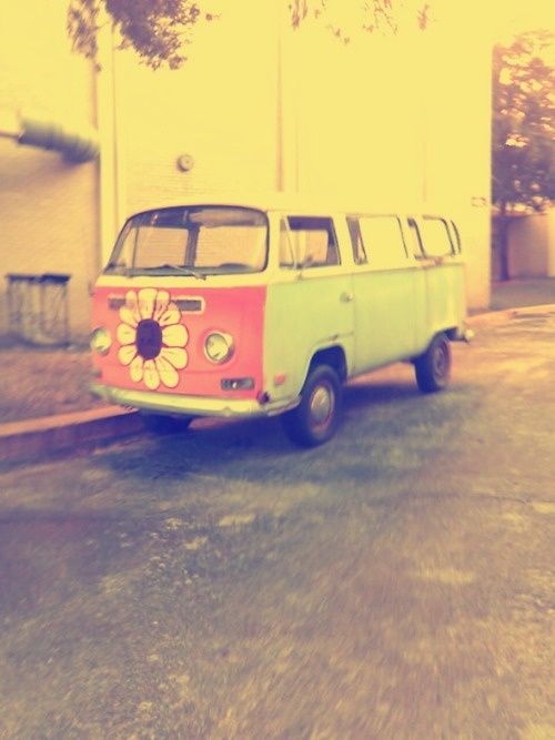 Flower front VW bus ... I mean, why not go all out, right?