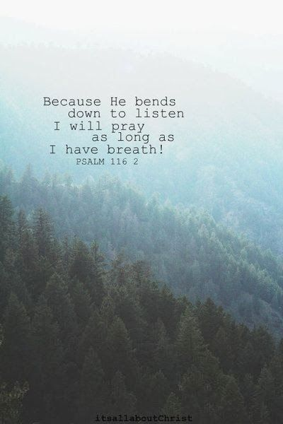 Psalm 116:2 (ESV) 2 Because he inclined his ear to me, therefore I will call on him as long as I live.