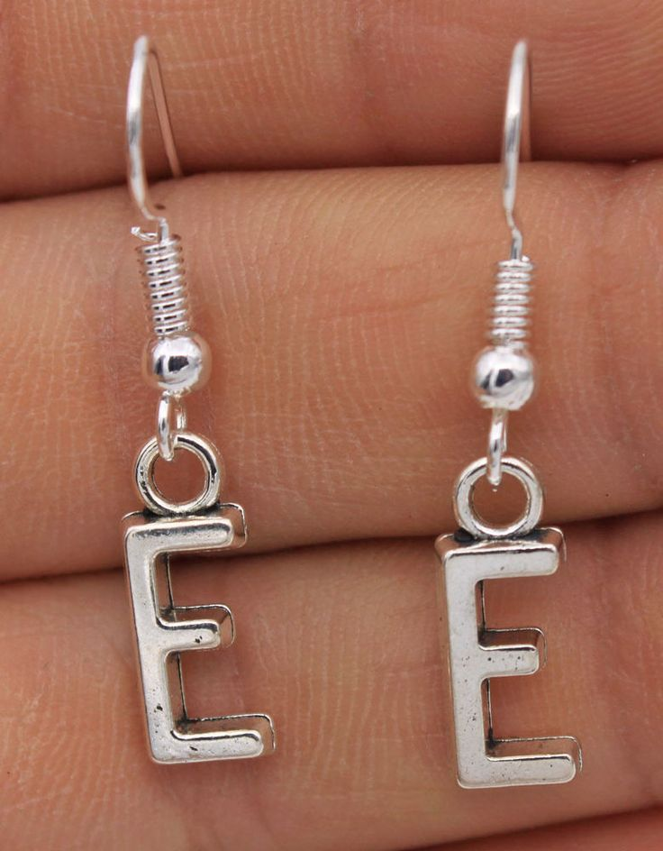 "925 Silver Plated Hook - 1 Pair Letter ""E"" Simple Style Women Party Earrings #05"