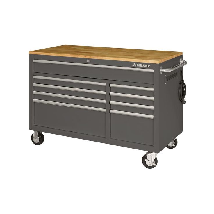 Husky Heavy Duty 62 In W 14 Drawer Deep Tool Chest Mobile Workbench In Matte Black With Adjustable Height Hardwood Top Holc6214bb1mys The Home Depot Mobile Workbench Tool Chest Workbench