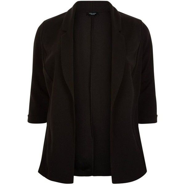 Plus Size Black 3/4 Sleeve Blazer (£20) ❤ liked on Polyvore featuring outerwear, jackets, blazers, womens plus size jackets, 3/4 sleeve blazer, plus size blazer jackets, womens plus size blazers and 3/4 sleeve jacket
