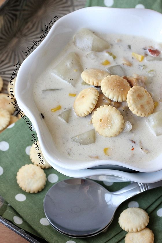 Slow Cooker New England Clam and Corn Chowder Recipe from @Rachel {Baked by Rachel}
