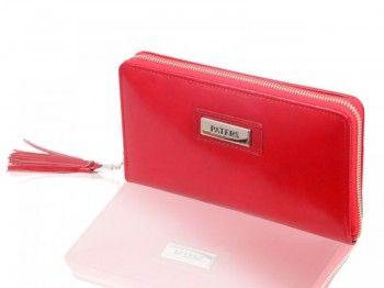 Portmonetka damska  PK-004 czerwona Wykonana z naturalnej skóry włoskiej w kolorze czerwonym.