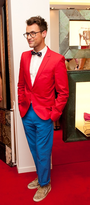 Brad Goreski's awesome colour-block suit with studded Christian Louboutin high-tops. Such a happy look.