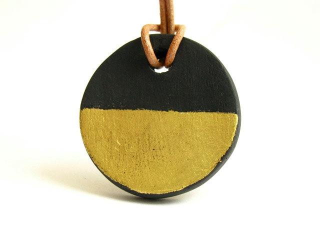 Ceramic Jewelry - Black Porcelain and Gold Stripes Pendant Leather Necklace