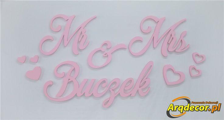 Pracownia Dekoracji ARQ - DECOR - Mr & Mrs + Twoje hasło ! (NA ZAMÓWIENIE) nr 100