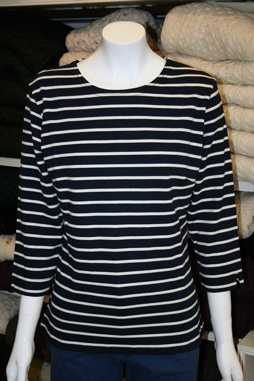 100% Cotton top from Key West in a Navy/Ecru stripe.