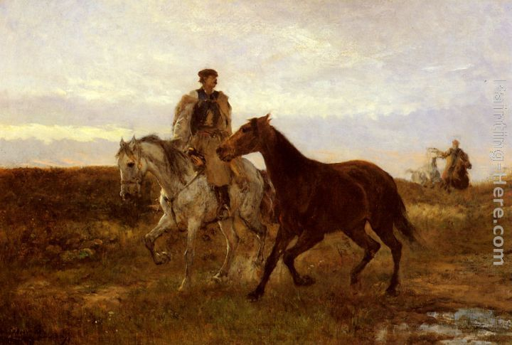 Mihaly Munkacsy Leading the Horses Home at Sunset
