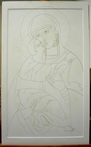 The drawing of the Mother of God of Vladimir on the panel