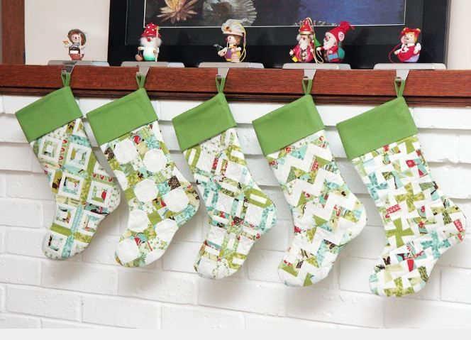 quilted christmas stockings | Quilted Christmas: 7 Stocking and Tree Skirt Patterns