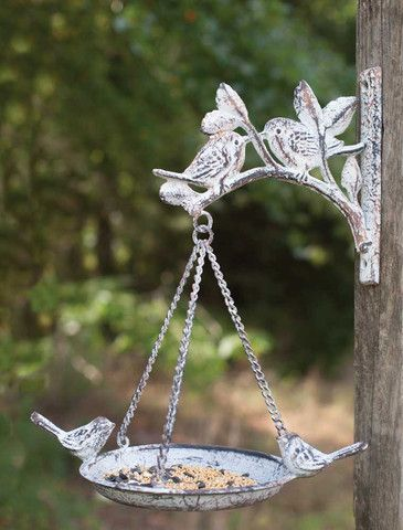 Antique Cast Iron Hanging Bird Feeder with Bracket - Set Of 2 - *FREE SHIPPING*