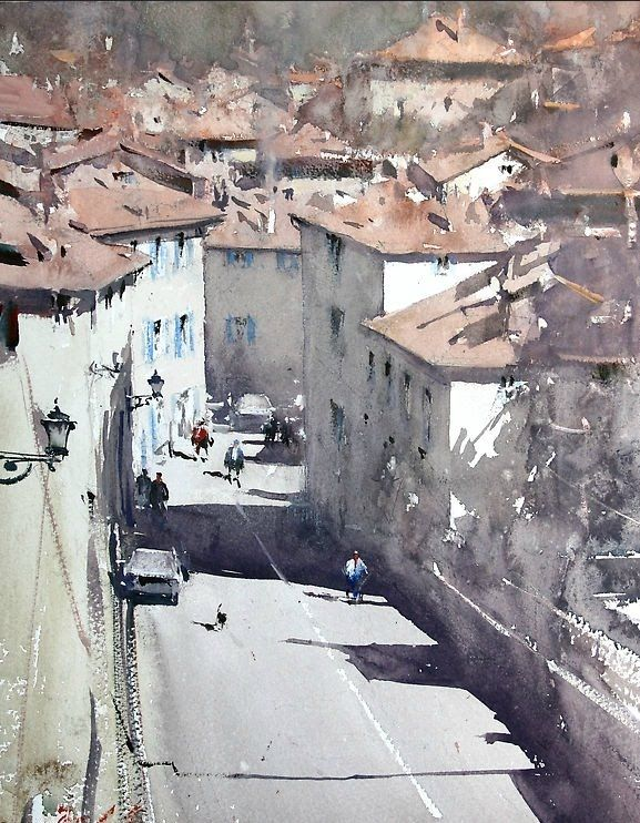 Joseph Zbukvic, Aquarelles ~ Blog d'un Admirateur Art. The way the light is so aptly captured and the shadows melt into each other...