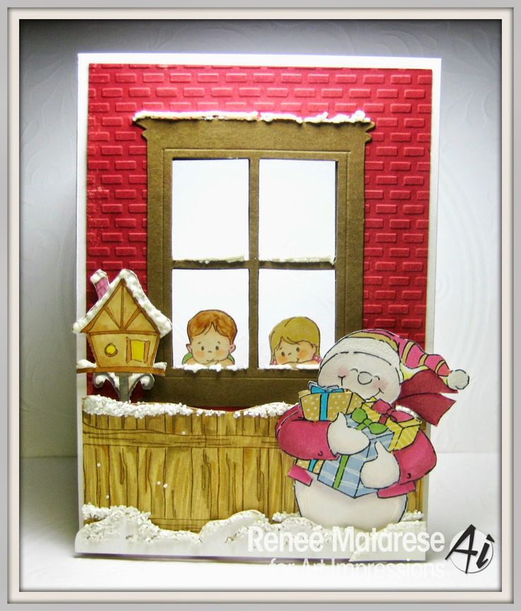 Art Impressions Rubber Stamps:  Handmade Christmas window card Snowman Shaker (4514), Boy & Girl Mini Set (4403),Lamp (Sku#G1245) WC Cloudline (Sku#H2724) Fence (P1499), Snowy Birdhouse (K3301), Christmas Fanny (U1803), Tree from Decorating Penguins (T3055), Rowdy (F1250), Rug (E1513) and Text from Sleepy Santa TF (4341)