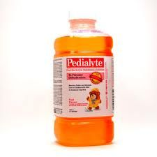 Homemade Pedialyte:   Mix 4 cups of water, 1/2 tsp of salt, and 2 tbsps of sugar. Add a 1/2 tsp of Jell-O powder or Kool-Aid to give it flavour if you choose.