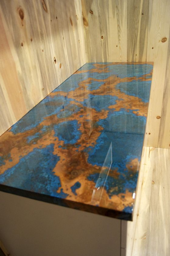 Copper Countertops | Photos Page 2  Love that it looks like the globe - so unique