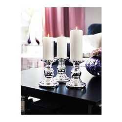 IKEA - SKIMMER, Block candle holder, Mouth blown; each candle holder is shaped by a skilled craftsman.