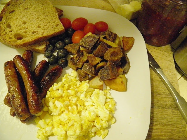 Hobbit Breakfast for Dinner (with recipe for Parmesan roasted potatoes & mushrooms)