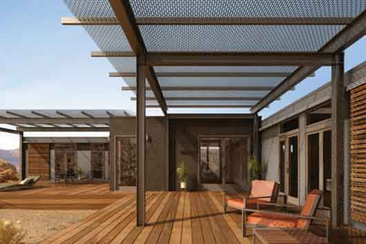 Modern pergola stops before edge of deck terasa pinterest decks metal pergola and metals - Pergola climbing plants under natures roof ...