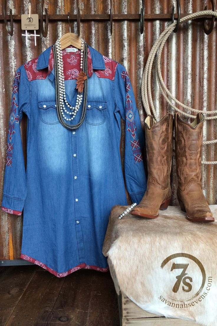 - Denim tunic with bandanna and embroidery details - Red bandanna front yoke and inside collar details - Bandanna trimmed cuff and hem - Red and white needlepoint entricate detail sleeves - Double pea