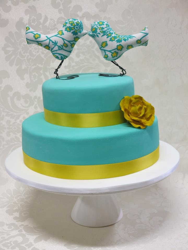 Teal and Yellow with Custom Bird Toppers