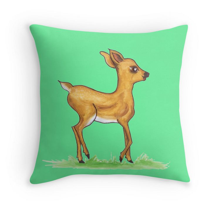 Fawn throw pillow on Redbubble