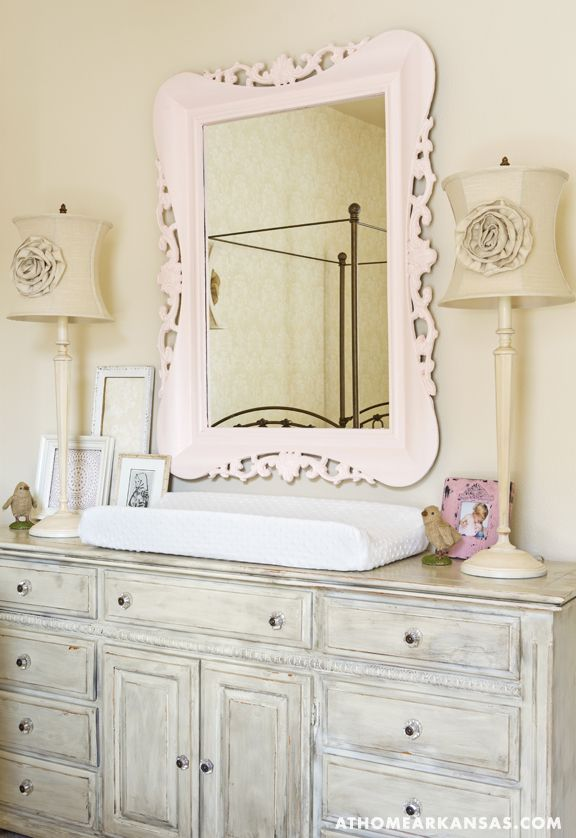 Flea market finds complete the room, including lamps, a mirror and dresser that Katie repainted.