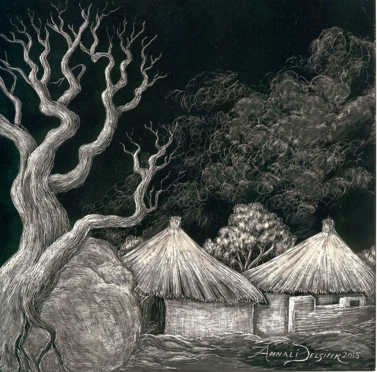 'Corrie's lost huts' , scraperboard/scratchboard by Annali Delsink. My brother CSR vd Merwe lost 6 of his paintings in a burglary. In solidarity with his loss I used elements of his work in a series of three scraperboards.