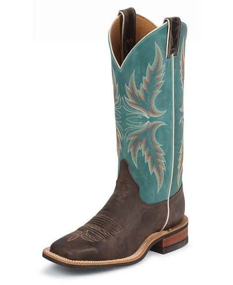Justin Bent Rail Blue Puma Cowgirl Boots - Square Toe available at
