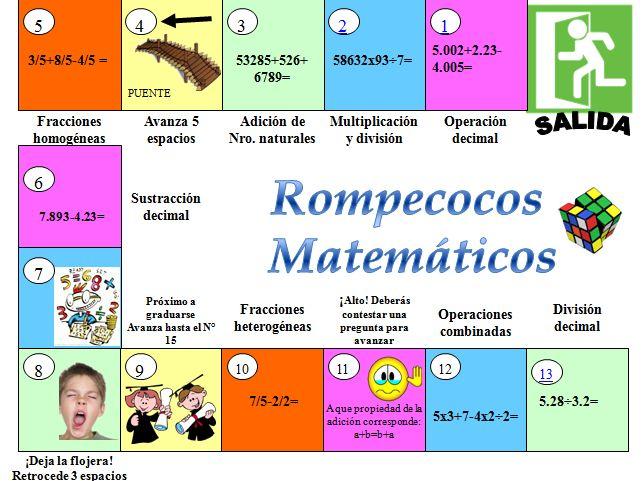 Juegos Rompecoco Matematicos Matematicas Pinterest Math