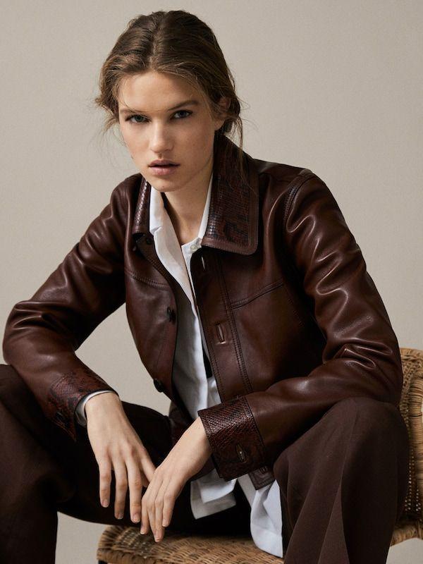 Novo Novo Damska Moda Massimo Dutti Blgariya Brown Leather Jacket Leather Jacket Massimo Dutti